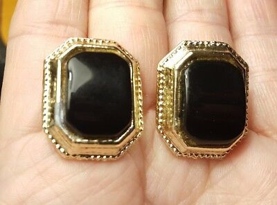 Vintage Estate Black Plastic Rectangle Octagon Gold Tone Metal Clip On Earrings