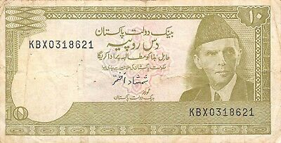 Pakistan  10  Rupees  1983  P 39  Series  KBX  Circulated Banknote A418
