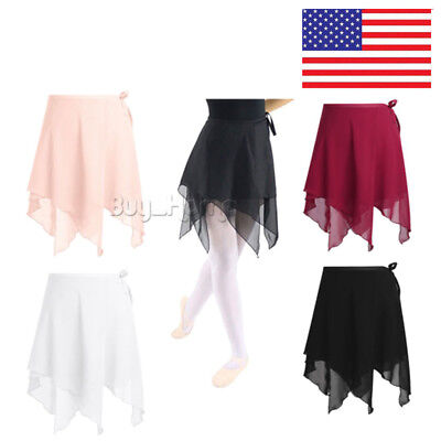 USA Adult Women Chiffon Ballet Wrap Skirt Dance Skate Scarf Dress Lady Dancewear