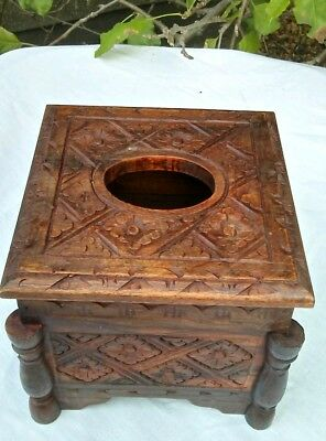 Carved  Wooden Wood Tissue Box cover paper napkin case home decor Bali Indonesia