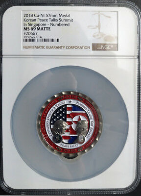 United States America 2018 Korea Peace Talk Summit in Singapore Medal NGC 69