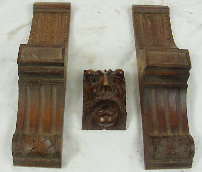 French Antique  Wood panel  face corbels Gothic