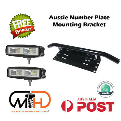 Number Plate Frame 20w Mount Bracket Car Driving LED Light Bar Holder BLACK