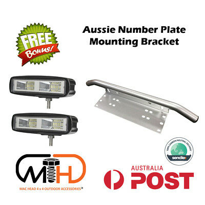 Number Plate Frame 20w Mount Bracket Car Driving LED Light Bar Holder Silver