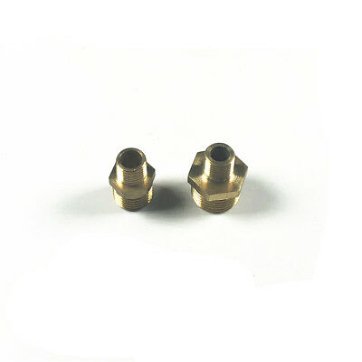 "1/8"" x 1/4"" 3/8"" 1/2"" BSPT Brass Male to Male Hex Nipple Reducer Connector"