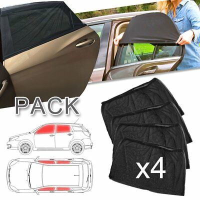 Car Side Window Sun Shade 4 Pack Adjustable Fit Visor Mesh Sunshade Auto SUV HM