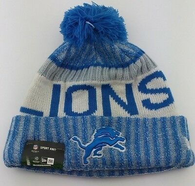 new product 9582d e0340 Detroit Lions Cuffed Knit Pom Beanie NFL Winter Hat New Era Side