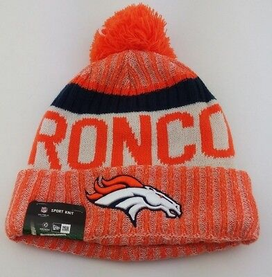 huge discount 3e6c9 52722 Denver Broncos Cuffed Knit Pom Beanie New Era NFL Winter Hat Side Line