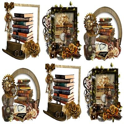BOOKWORM STEAMPUNK Embellishments, Card Making Toppers,Card Toppers