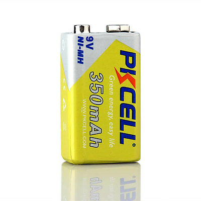 PKCELL Batteries 9V 350mAh Ni-MH PP3 6LR61 /6F22/ 9V Rechargeable Battery