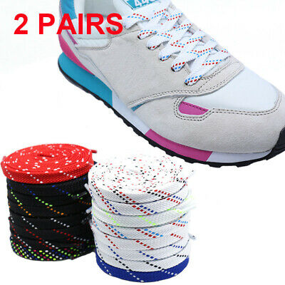 Twill Flat Shoe Laces Coloured Trainer Shoelaces Shoestrings Bootlaces Athletic