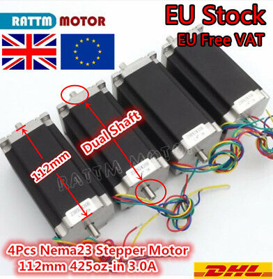 【UK Stock】4Pcs Nema23 Stepper Motor 425oz-in 3A 112mm Dual Shaft For CNC Router