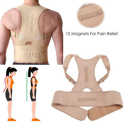 Magnetic Posture Back Corrector Lumbar Shoulder Support Belt Brace Protector UK