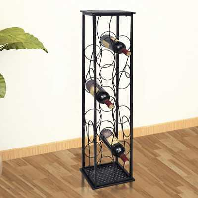 Metal Wine Cabinet Rack Stand 8-Bottles Display Storage Table Home Bar I8A6