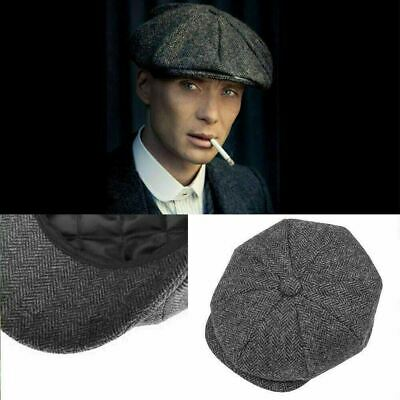 Quality 100% Wool Peaky Blinders Cap Gatsby Newsboy Grey Harris Tweed Hat