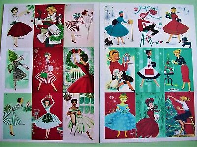 1940s 1950s 50s Vintage Dress Retro Pin Up Rockabilly Christmas Tags Gift Cards