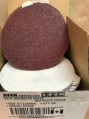 "Box Of 50- 40 Grit 5"" PSA Tabbed Paper Sanding Disc KEEN ABRASIVES 36000"