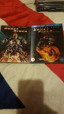 Ghost Rider 1 is a steel Book & ghost Rider 2  3D Blurays in normal case