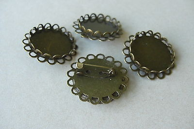 10 BRONZE TONE 32mm DOUBLE EDGE ROUND CABOCHON FRAME SETTING BROOCHES  Fit 25mm