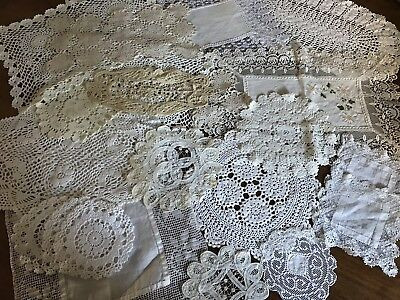 Large Job Lot Of 21 Vintage Doilies And Mats CROCHET LACE WEDDING