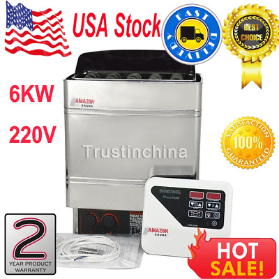 6KW Electric Wet&Dry Stainless Steel Sauna Heater Stove External Control 220V US