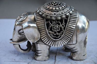 Collectible Chinese Silver Copper Handwork Elephant Incense Burner