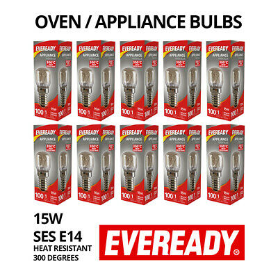 10 X EVEREADY LIGHT BULBS | Salt Lamp Appliance Oven | Screw E14 15W 300 Degrees