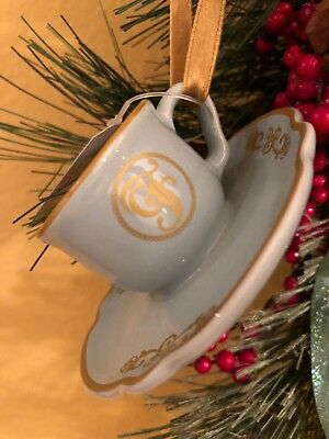 Disney 2018 Grand Floridian Teacup and Saucer Ceramic Christmas Ornament New