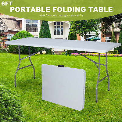 6' Plastic Centerfold Folding Table Portable Indoor Outdoor Picnic Camping Table