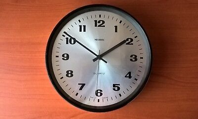 Metamec Silver Black Vintage Wall Clock Battery Operated 1960s 1970s Retro FWO