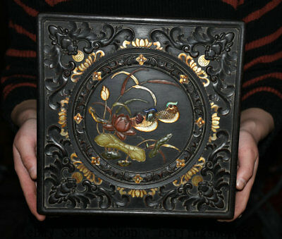 """9.8"""" Old Chinese Rosewood Inlay Shell Dynasty Duck Lotus Jewelry Box Jewel Case"""