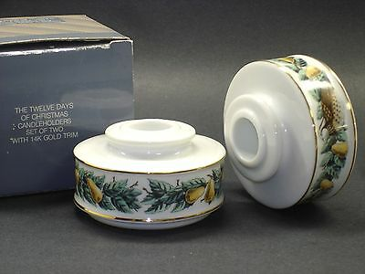 """Set of ( 2 ) AVON  12 Days of Christmas """"Partridge in a Pear Tree""""Candle Holders"""