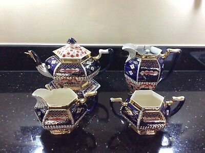 REDUCED GAUDY WELSH 5 Pce Tea Service Imari Style Mid Victorian