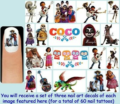 60x COCO Nail Art Decal + Free Gems Disney Pixar Movie Day of the Dead Halloween