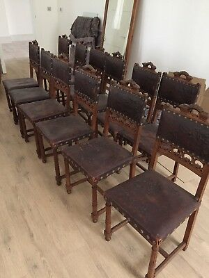 Set Of 12 Old french antique Dining Chairs
