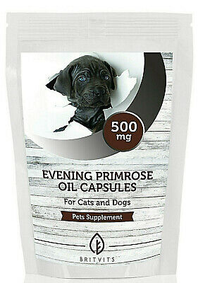 Evening Primrose Oil 500mg for Cats Dogs Pets 30-60-90-120-180-250-500 Capsules