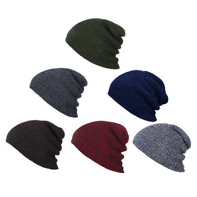 Unisex Men Ladies Beanie Hat Knit Slouchy Baggy Cap Warm Ski Hip Hop Winter