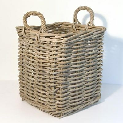 Fireside Square Small Log Basket Wicker Rattan Stove Wood Toy Storage - Grey