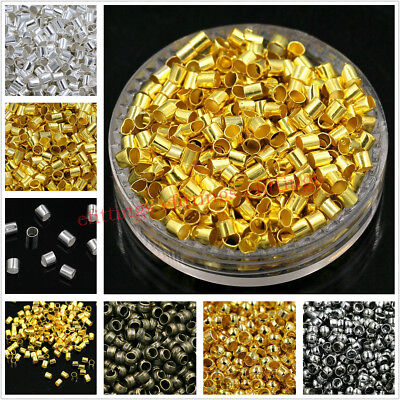 Wholesale Cord End Tube Crimp Beads Silver Gold Bronze Black Color 1.5mm 2mm 3mm