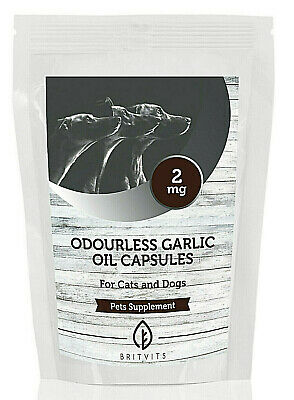 Odourless Garlic Oil 2mg for Pets Cats Dogs 30-60-90-120-180-250-500 Capsules