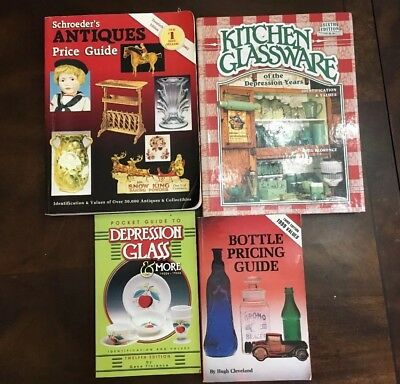Lot of 4 Antique Price Guides Schroeder's, Bottle Pricing, Depr Glass, Kitchen