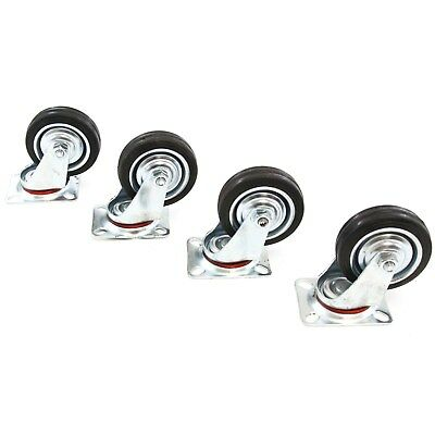 "4 Heavy Duty Caster Set 3"" Wheels 360 Degree Swivel Casters Non Skid No Mark"