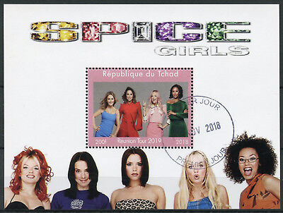 Chad 2018 CTO Spice Girls Reunion Tour Ginger Sporty Baby 1v M/S Music Stamps