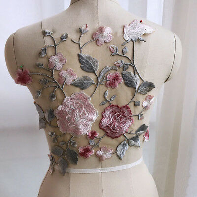 1x Exquisite Floral Embroidered Lace Applique Patch For Wedding Dress Clothes