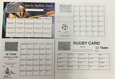 FUNDRAISING SCRATCHCARD SPORTS PACK x4 CARDS, GREAT QUALITY!!