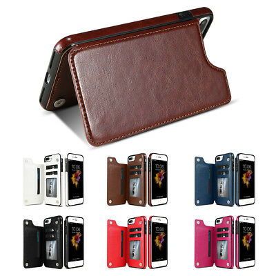 New Card Slot Holder Skin Leather Case Phone Back Cover For iPhone X 8 7 6S Plus