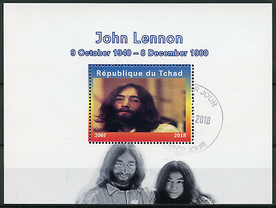 Chad 2018 CTO John Lennon Yoko Ono The Beatles 1v M/S Music Famous People Stamps