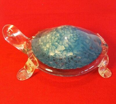 Vintage Murano Art Glass Sea Turtle Tortoise Paperweight Figure Statue Italy