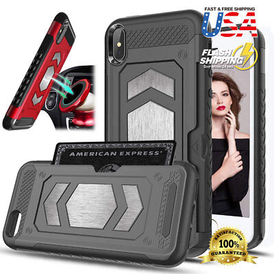 For iPhone XS Max XR Case Magnetic Dual Layer Armor Wallet Card Slot Car Mount