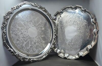 Two vintage silver plate butlers / drinks trays 1 x Baxter bros 1 x Towle